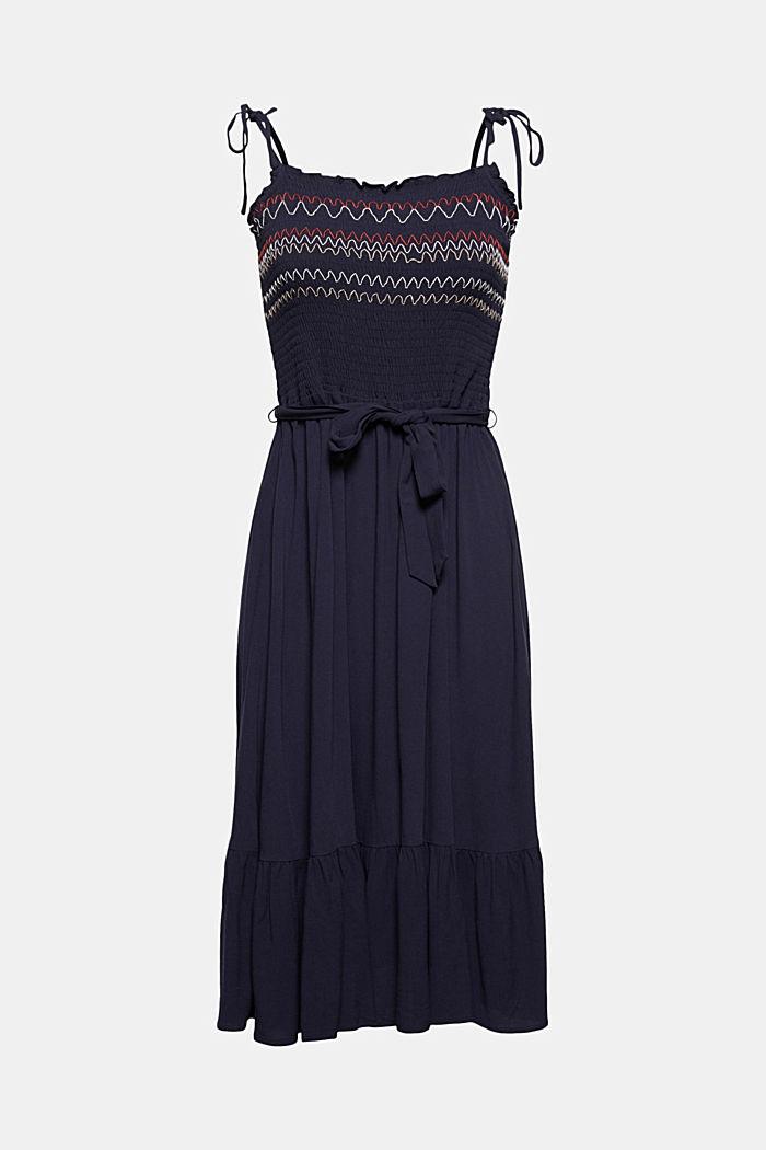 Gesmokte jurk met borduursel van LENZING™ ECOVERO™, NAVY, detail image number 5