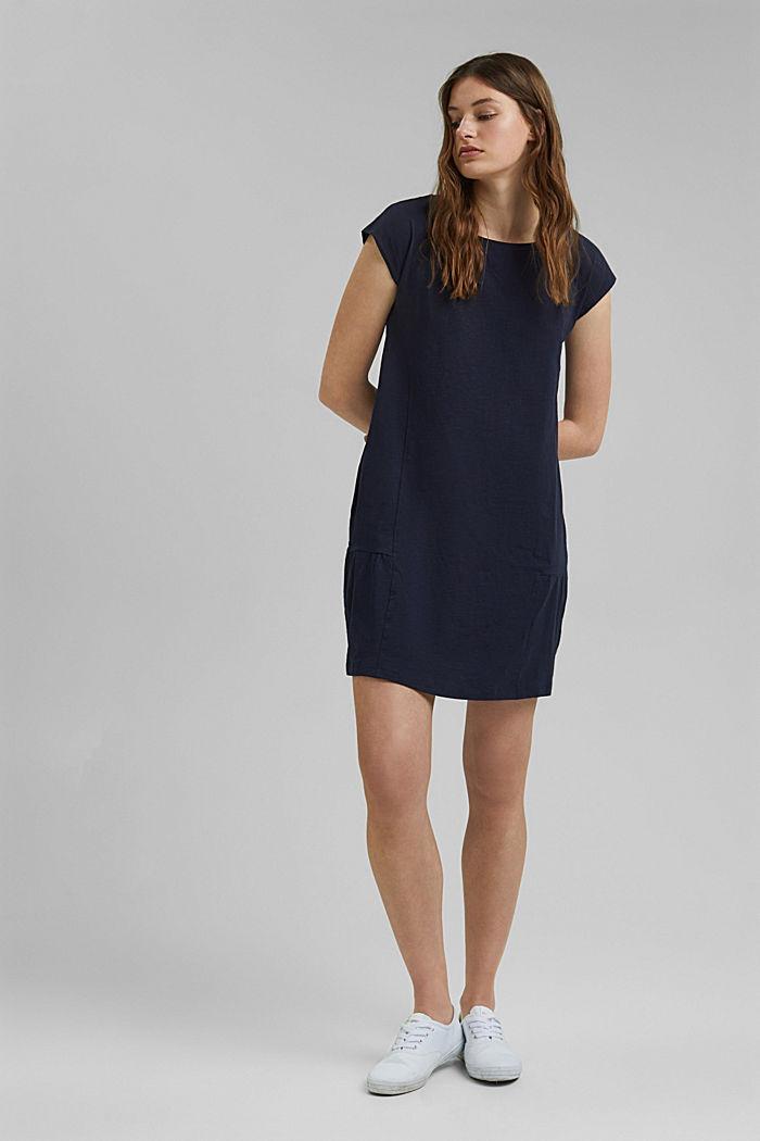 Jersey jurk van 100% biologisch katoen, NAVY, detail image number 1