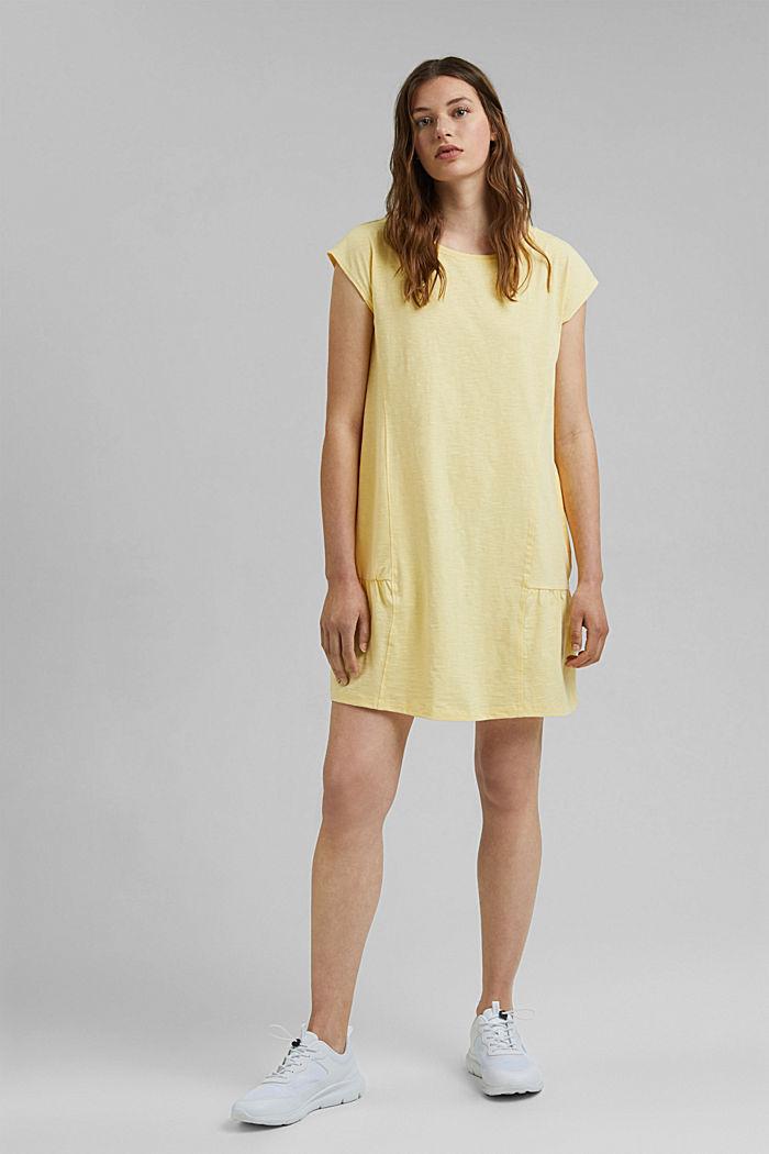 Jersey jurk van 100% biologisch katoen, LIGHT YELLOW, detail image number 1