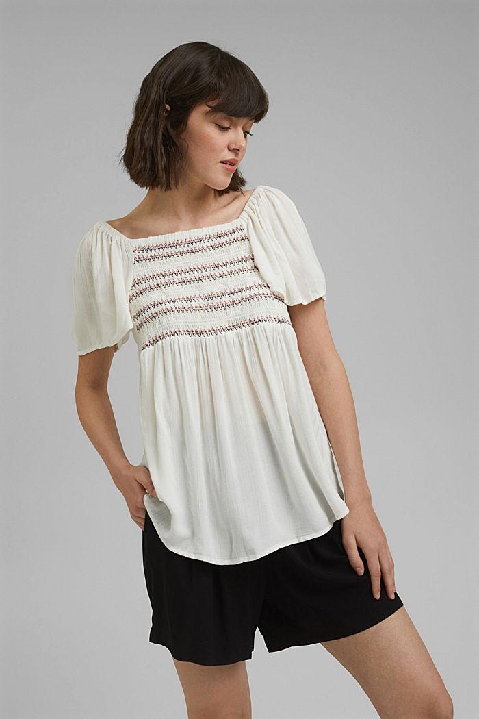 Haut façon blouse smocké à teneur en LENZING™ ECOVERO™, OFF WHITE, detail image number 0