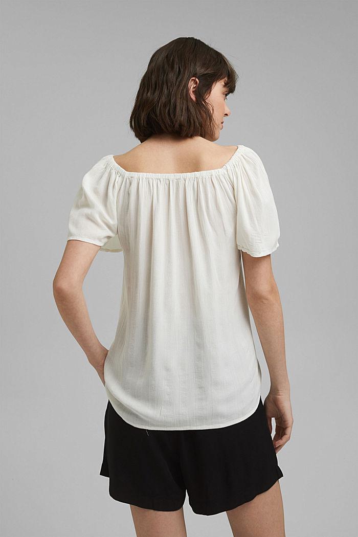 Haut façon blouse smocké à teneur en LENZING™ ECOVERO™, OFF WHITE, detail image number 3