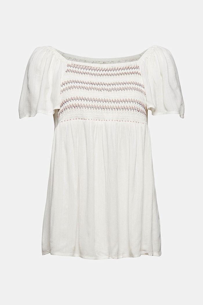 Haut façon blouse smocké à teneur en LENZING™ ECOVERO™, OFF WHITE, detail image number 6
