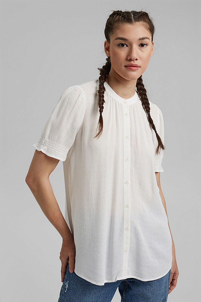 Bluse aus LENZING™ ECOVERO™, OFF WHITE, detail image number 0