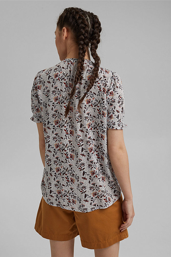 Floral crinkle blouse made of LENZING™ ECOVERO™, OFF WHITE, detail image number 3