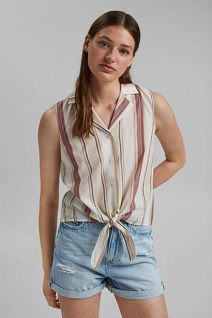 Bluzkowy top z supełkiem, 100% bawełny ekologicznej