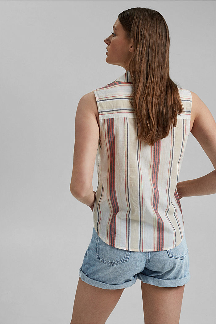 Blouse top with knot detail, 100% organic cotton, OFF WHITE, detail image number 3
