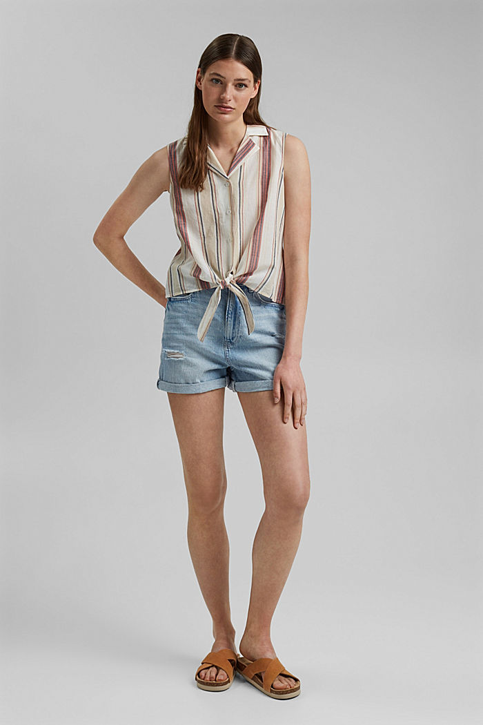 Blouse top with knot detail, 100% organic cotton, OFF WHITE, detail image number 1