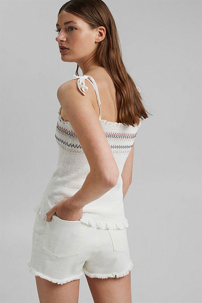 Smocked top made of LENZING™ ECOVERO™, OFF WHITE, detail image number 3