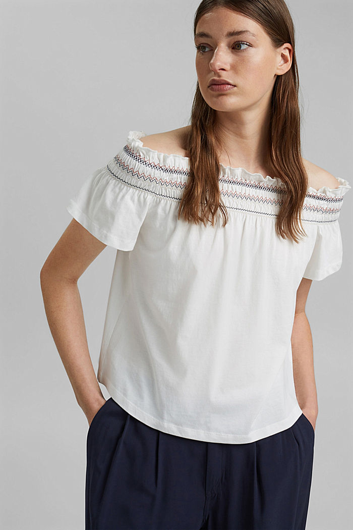 Bardot top made of 100% organic cotton, OFF WHITE, detail image number 0