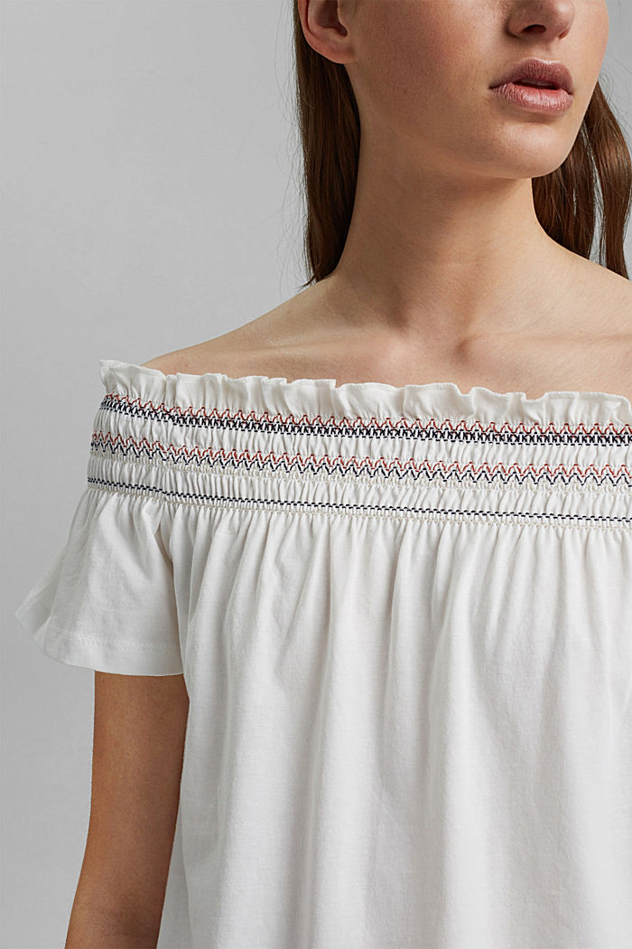 Bardot top made of 100% organic cotton, OFF WHITE, detail image number 2