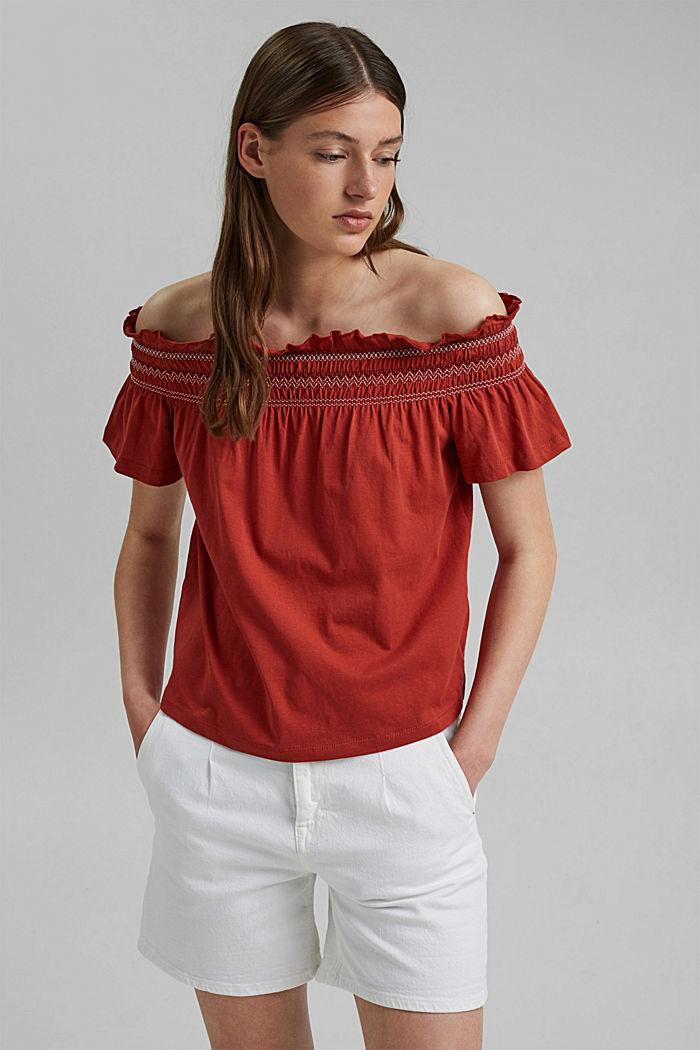 Bardot top made of 100% organic cotton, TERRACOTTA, detail image number 0