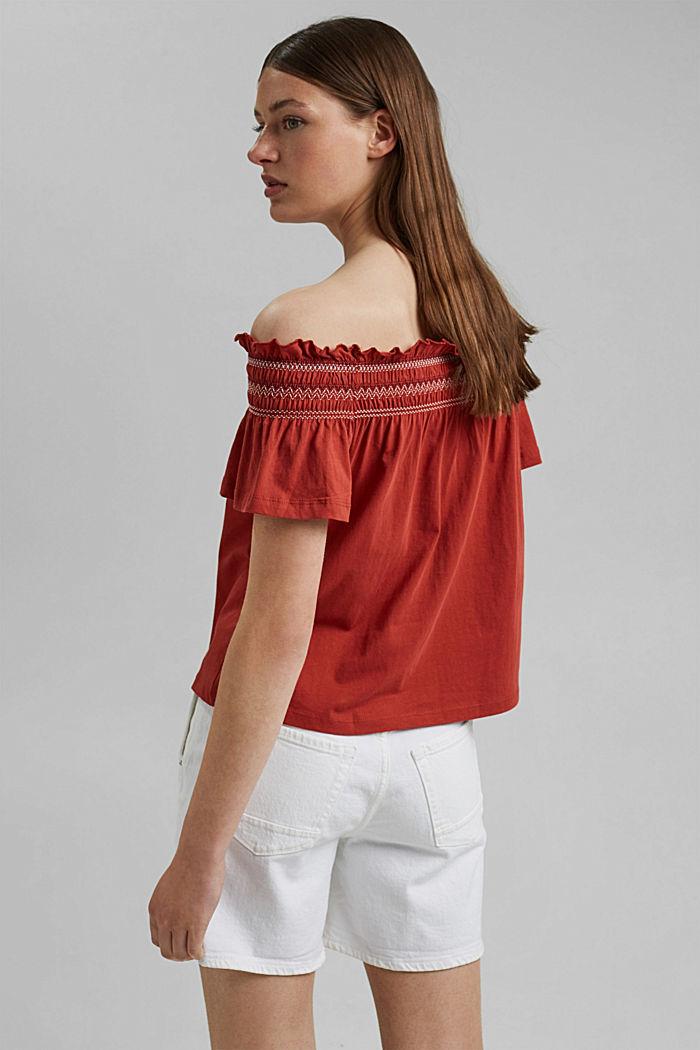 Bardot top made of 100% organic cotton, TERRACOTTA, detail image number 3