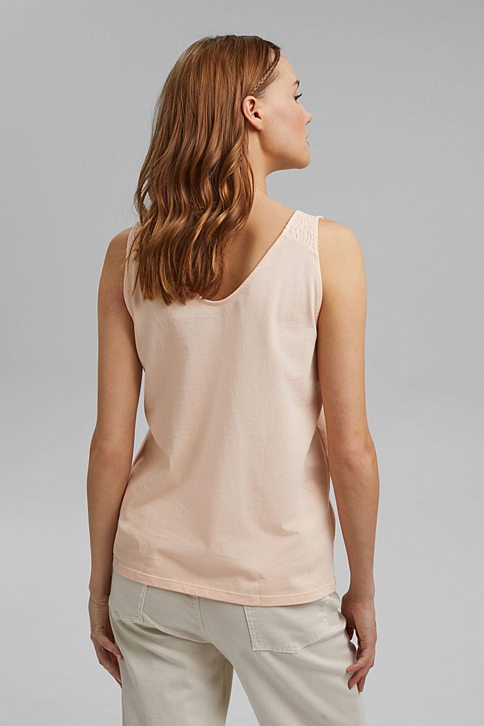 Sleeveless top with smocked straps, NUDE, detail image number 3