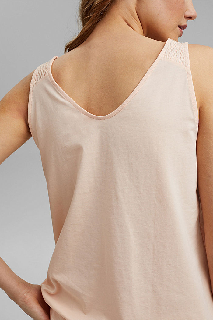 Sleeveless top with smocked straps, NUDE, detail image number 2
