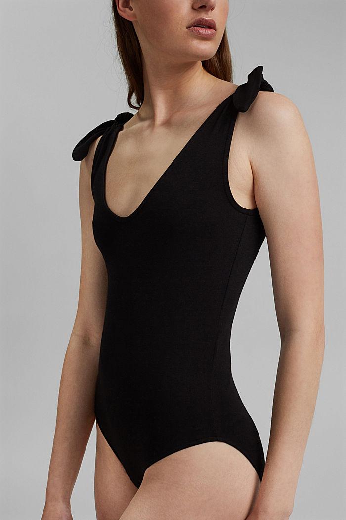 Body mit Knotenträgern, LENZING™ ECOVERO™, BLACK, detail image number 2