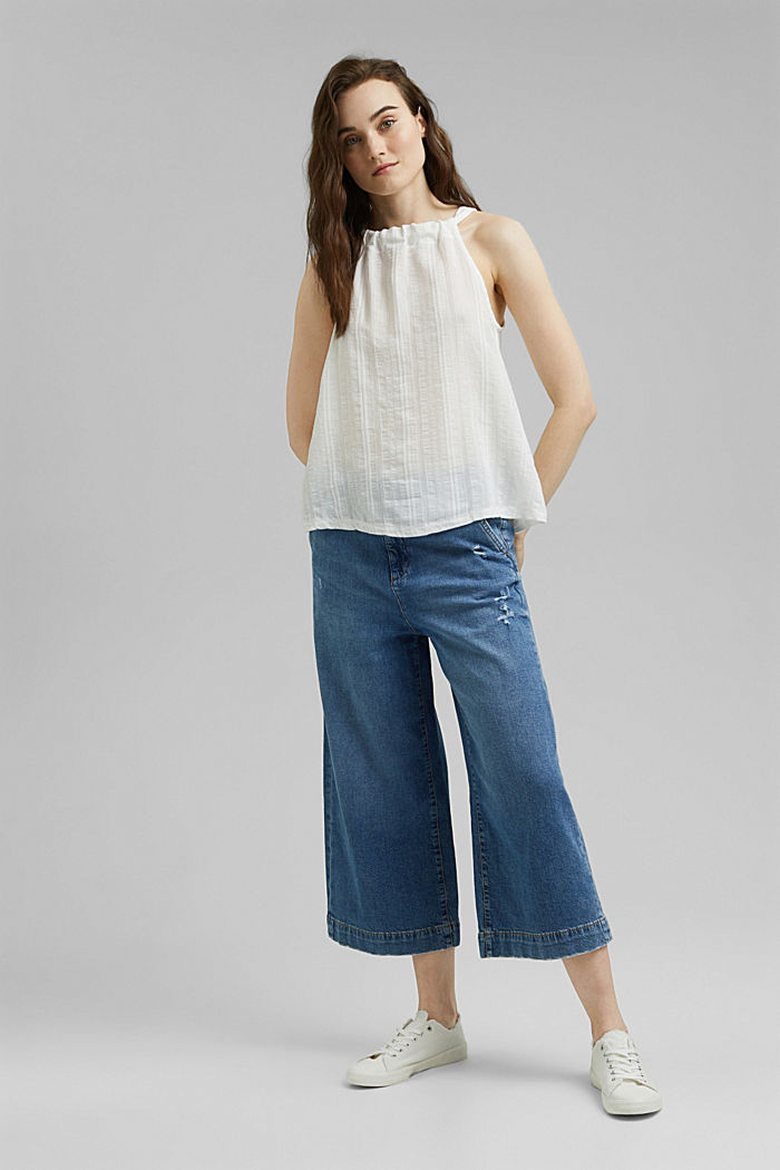 Halterneck top with organic cotton, OFF WHITE, detail image number 1
