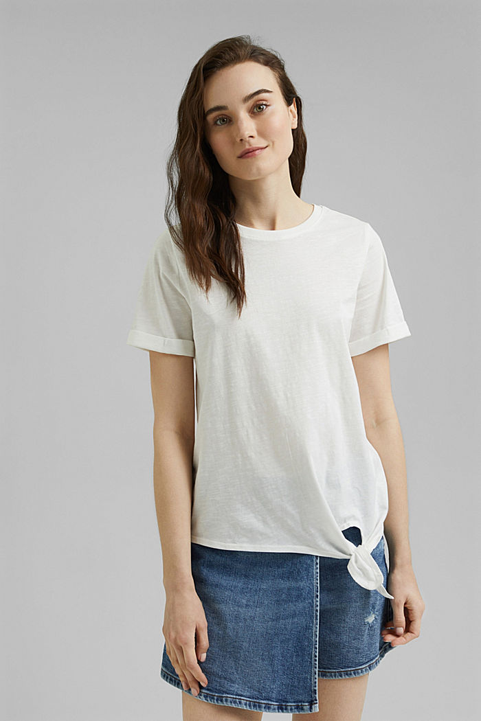 T-Shirt mit Knoten, Organic Cotton, OFF WHITE, detail image number 0