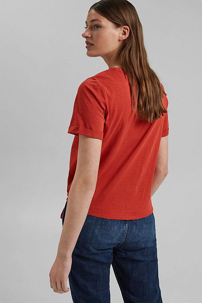 T-shirt met geknoopt effect, biologisch katoen, TERRACOTTA, detail image number 3