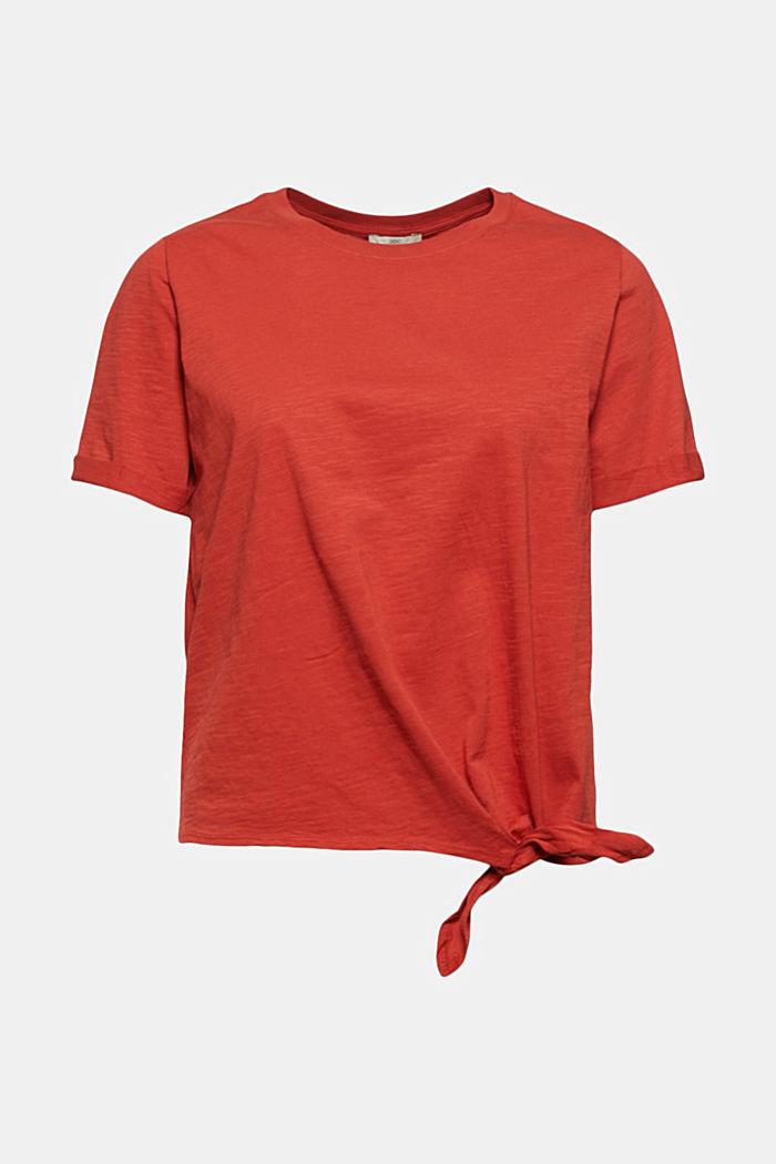 T-shirt met geknoopt effect, biologisch katoen, TERRACOTTA, detail image number 8