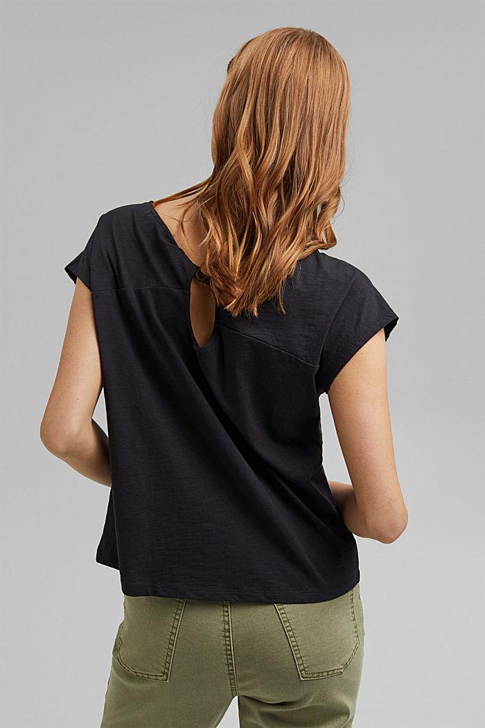 T-shirt z wycięciem, bawełna organiczna, BLACK, detail image number 3