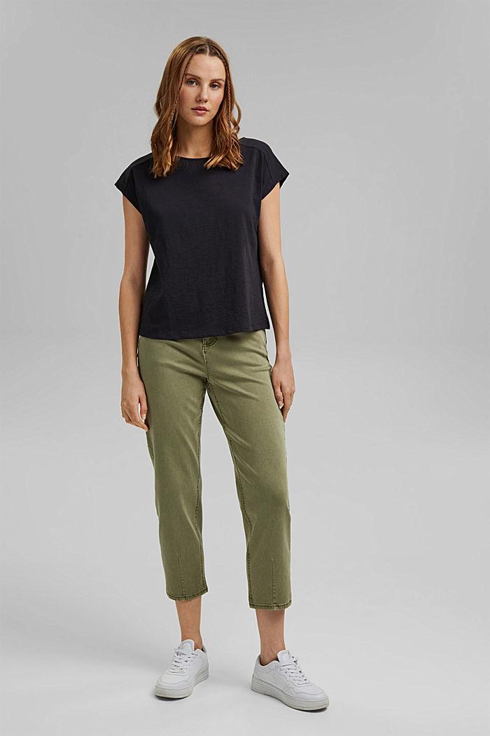 T-shirt z wycięciem, bawełna organiczna, BLACK, detail image number 1