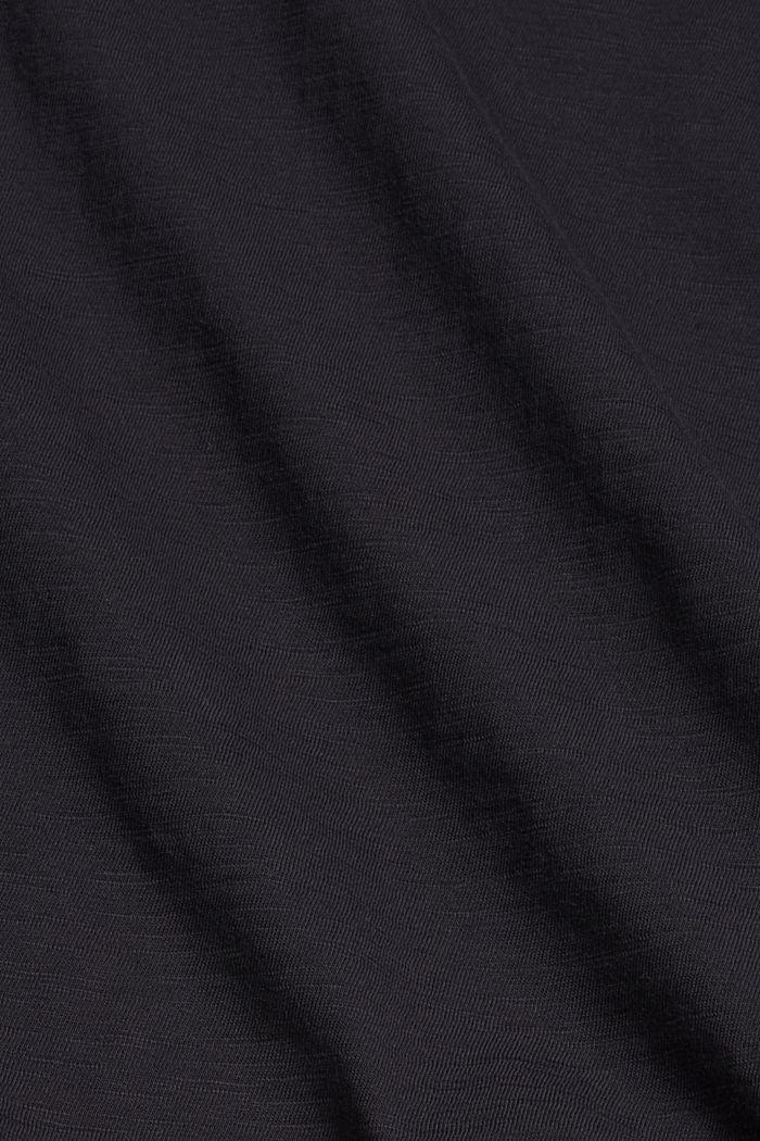 T-shirt z wycięciem, bawełna organiczna, BLACK, detail image number 4