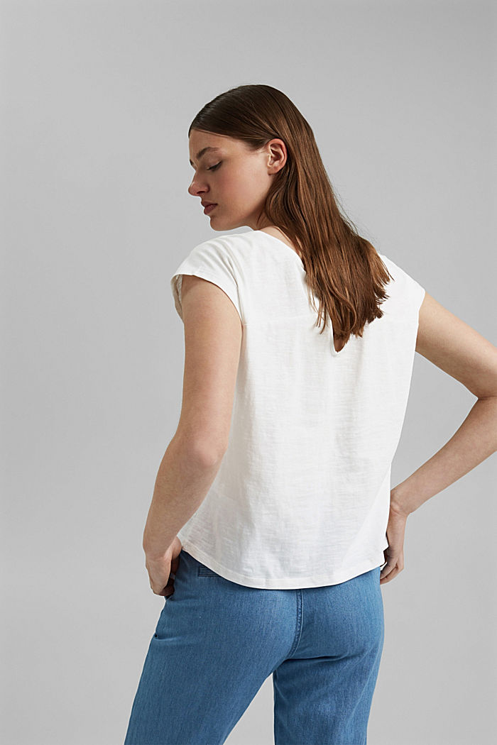 T-shirt with cut-out, organic cotton, OFF WHITE, detail image number 3