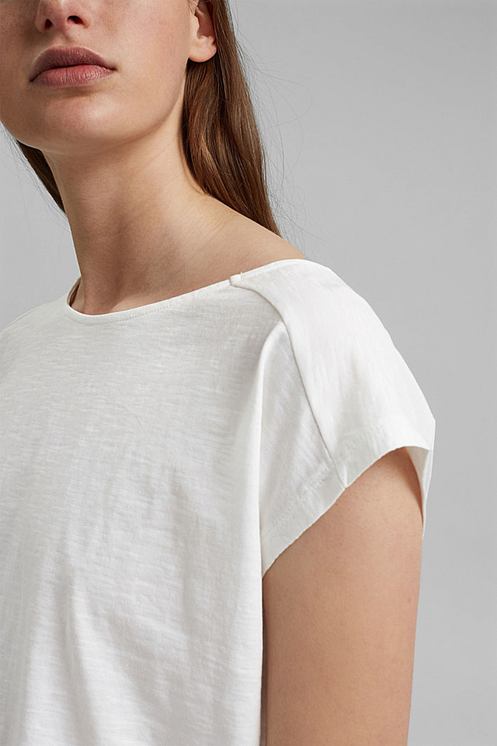 T-shirt with cut-out, organic cotton, OFF WHITE, detail image number 2