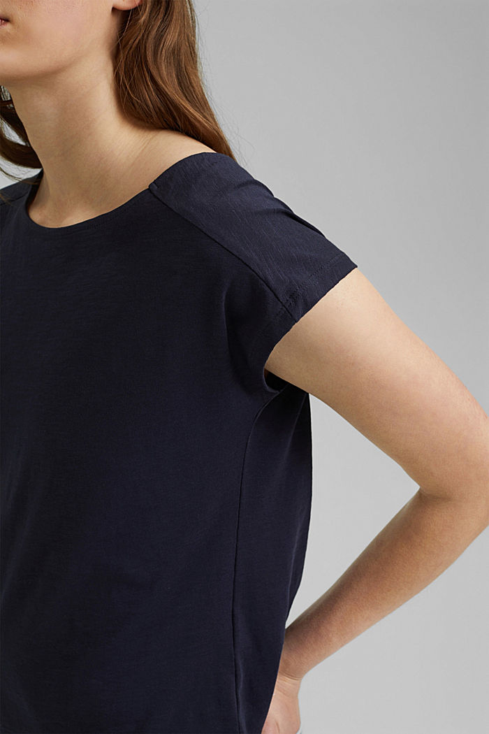 T-Shirt mit Cut-Out, Organic Cotton, NAVY, detail image number 5