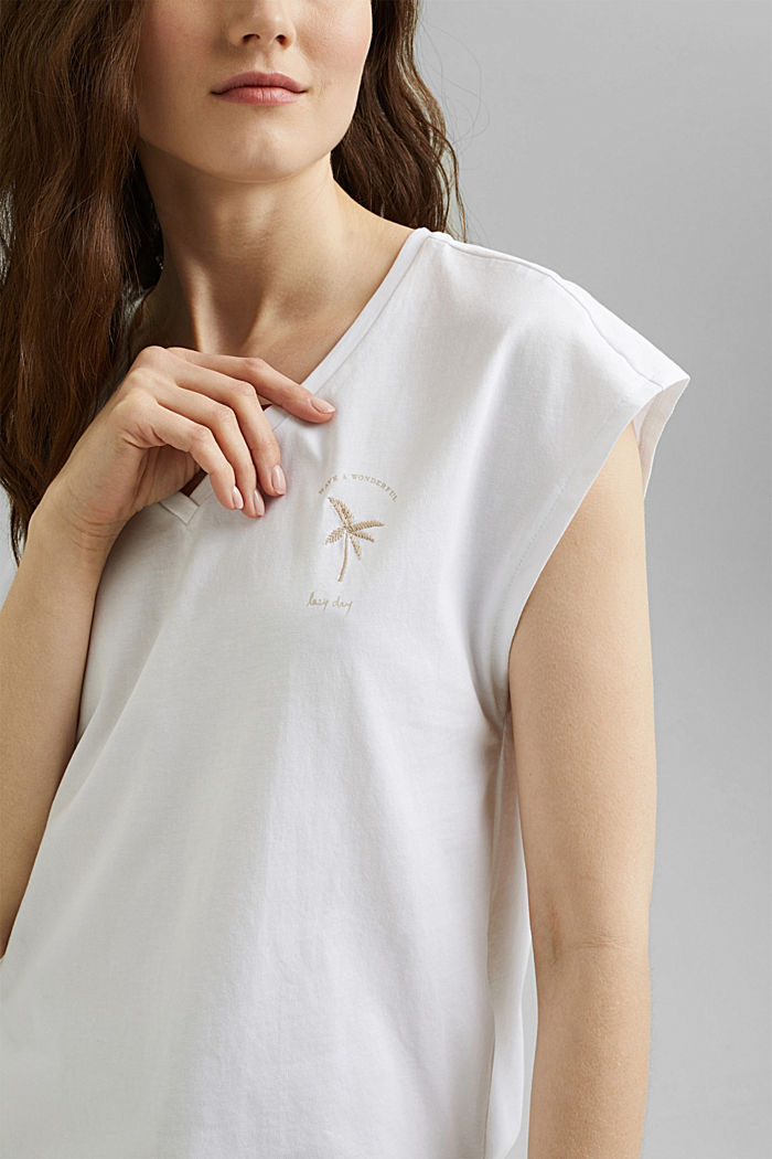 Top mit Stickerei, Organic Cotton, WHITE, detail image number 2