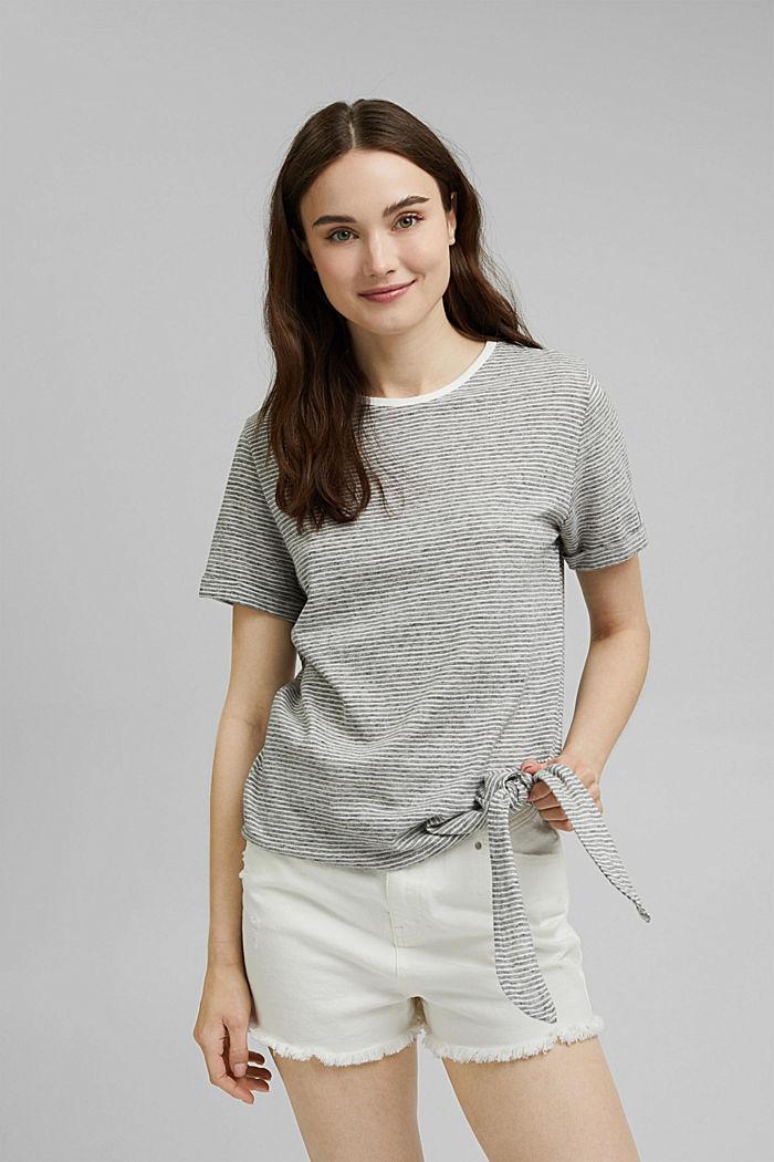 T-Shirt mit Streifen und Knoten, NAVY, detail image number 0