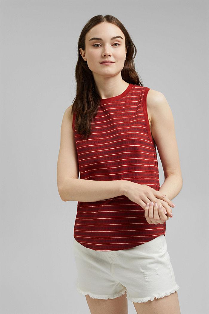 Printed sleeveless top, 100% organic cotton, TERRACOTTA, detail image number 0