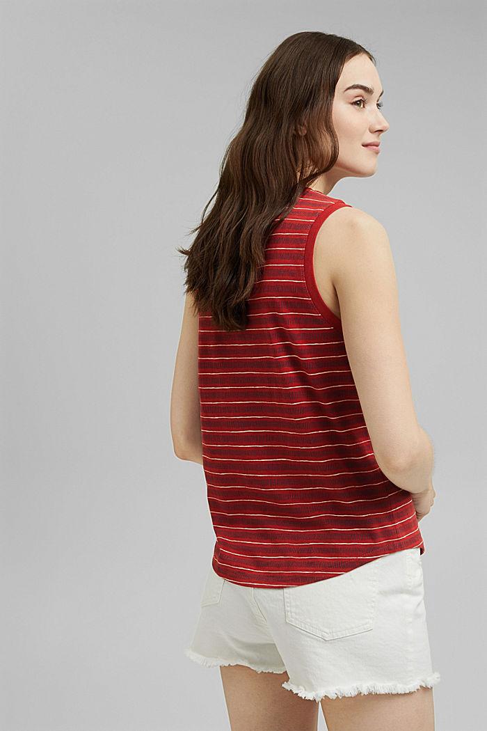Printed sleeveless top, 100% organic cotton, TERRACOTTA, detail image number 3