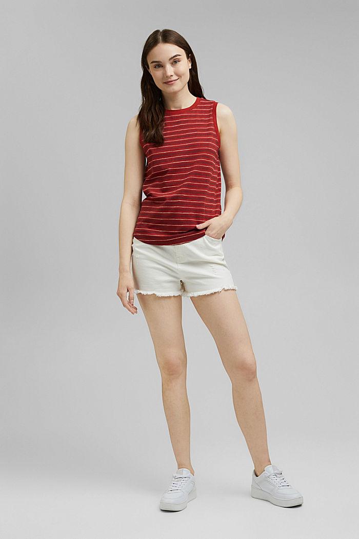 Printed sleeveless top, 100% organic cotton, TERRACOTTA, detail image number 5