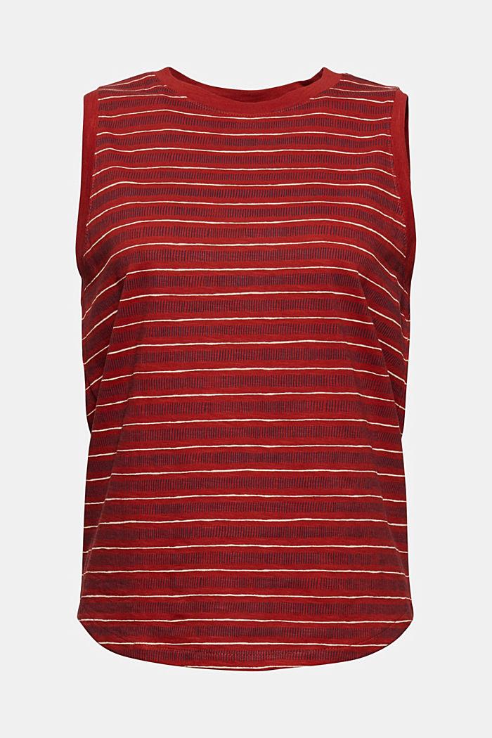 Printed sleeveless top, 100% organic cotton, TERRACOTTA, detail image number 6