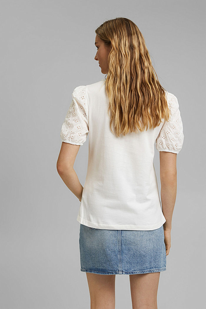T-shirt with cloth sleeves and broderie anglaise, OFF WHITE, detail image number 3