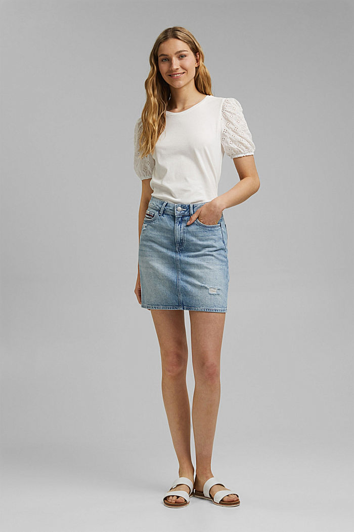 T-shirt with cloth sleeves and broderie anglaise, OFF WHITE, detail image number 1