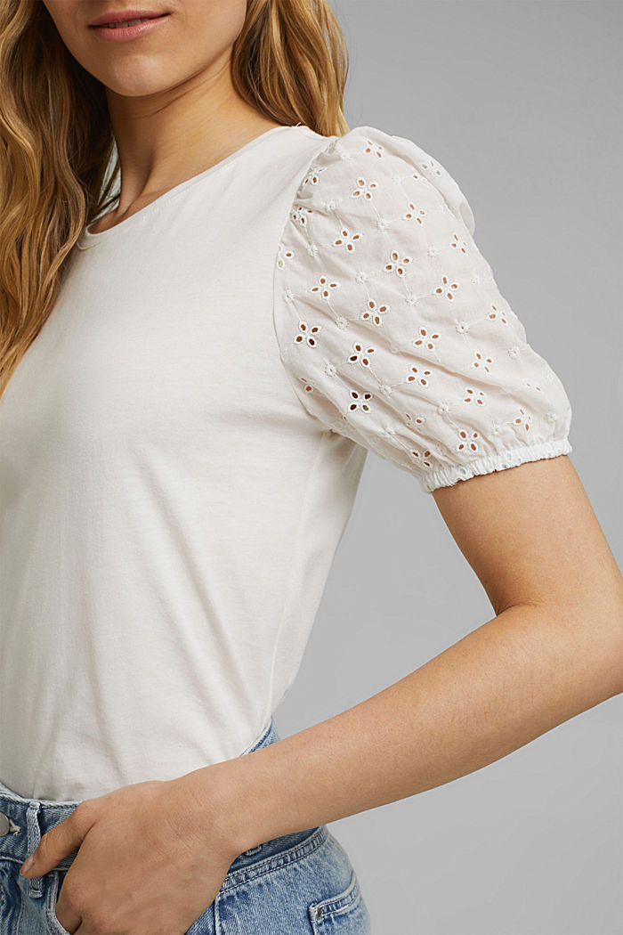 T-shirt with cloth sleeves and broderie anglaise, OFF WHITE, detail image number 2