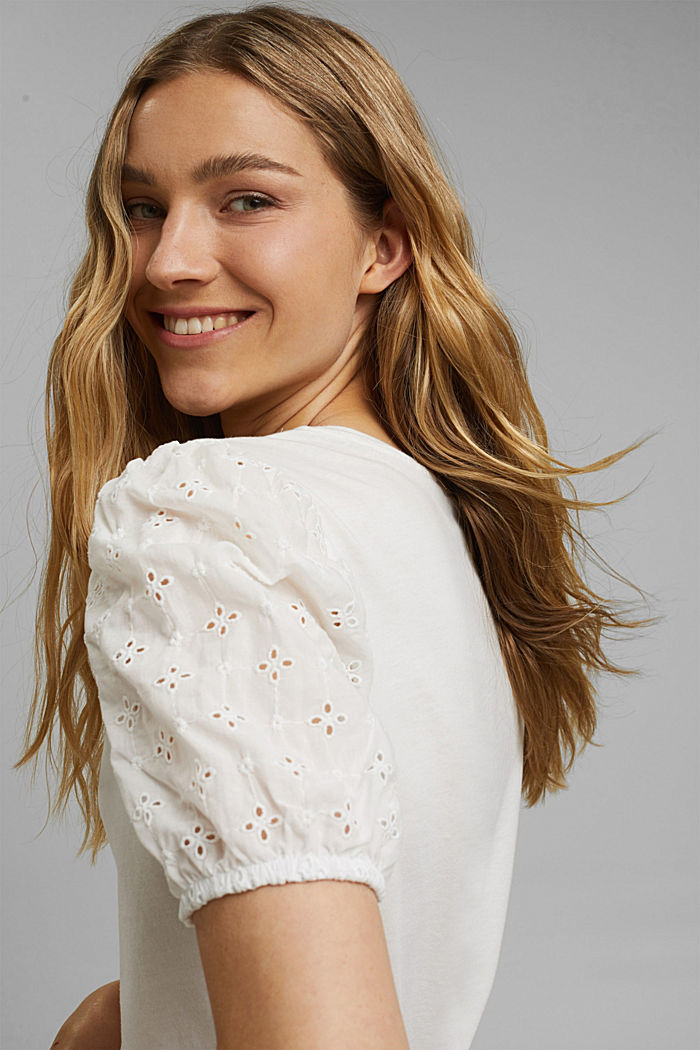 T-shirt with cloth sleeves and broderie anglaise, OFF WHITE, detail image number 5