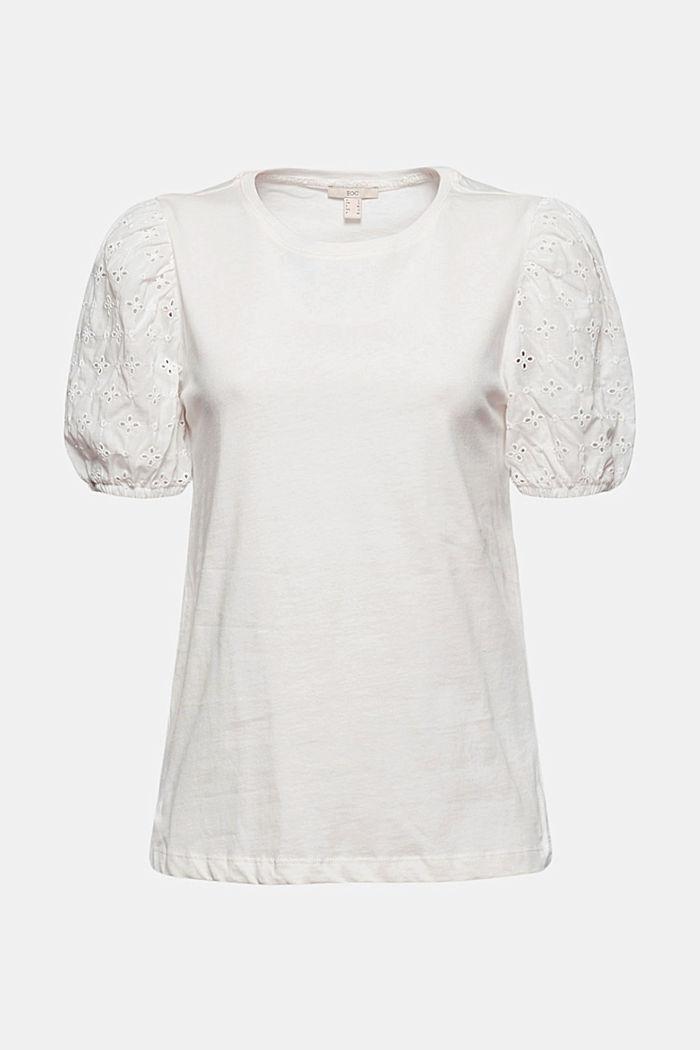 T-Shirt mit Stoffärmeln und Lochstickerei