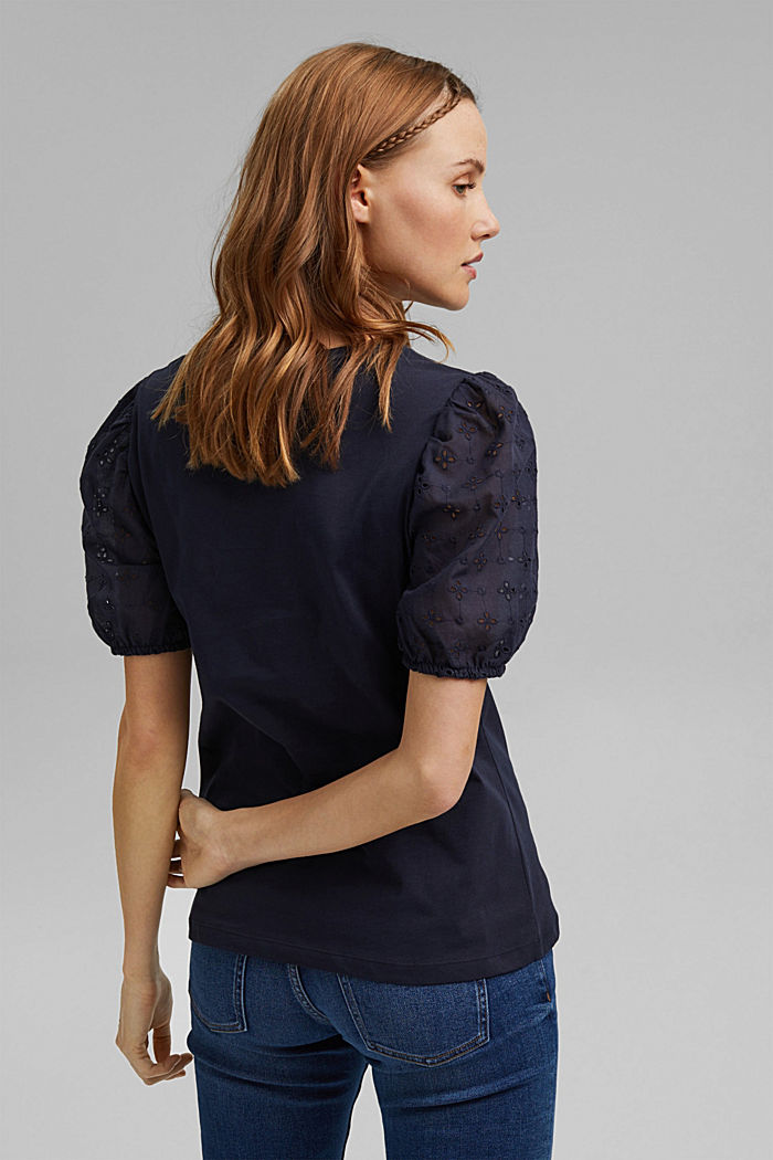 T-shirt with cloth sleeves and broderie anglaise, NAVY, detail image number 3