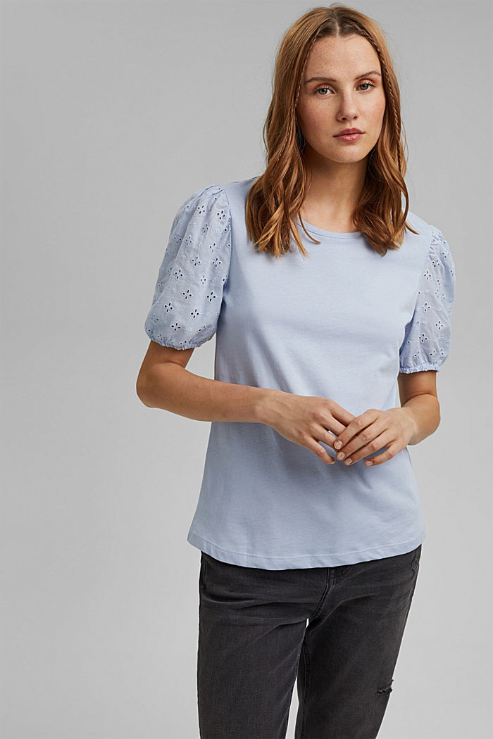 T-shirt with cloth sleeves and broderie anglaise, LIGHT BLUE LAVENDER, detail image number 0
