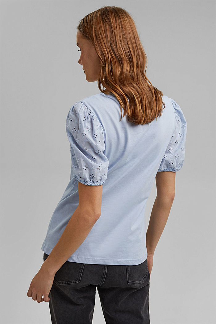 T-shirt with cloth sleeves and broderie anglaise, LIGHT BLUE LAVENDER, detail image number 3