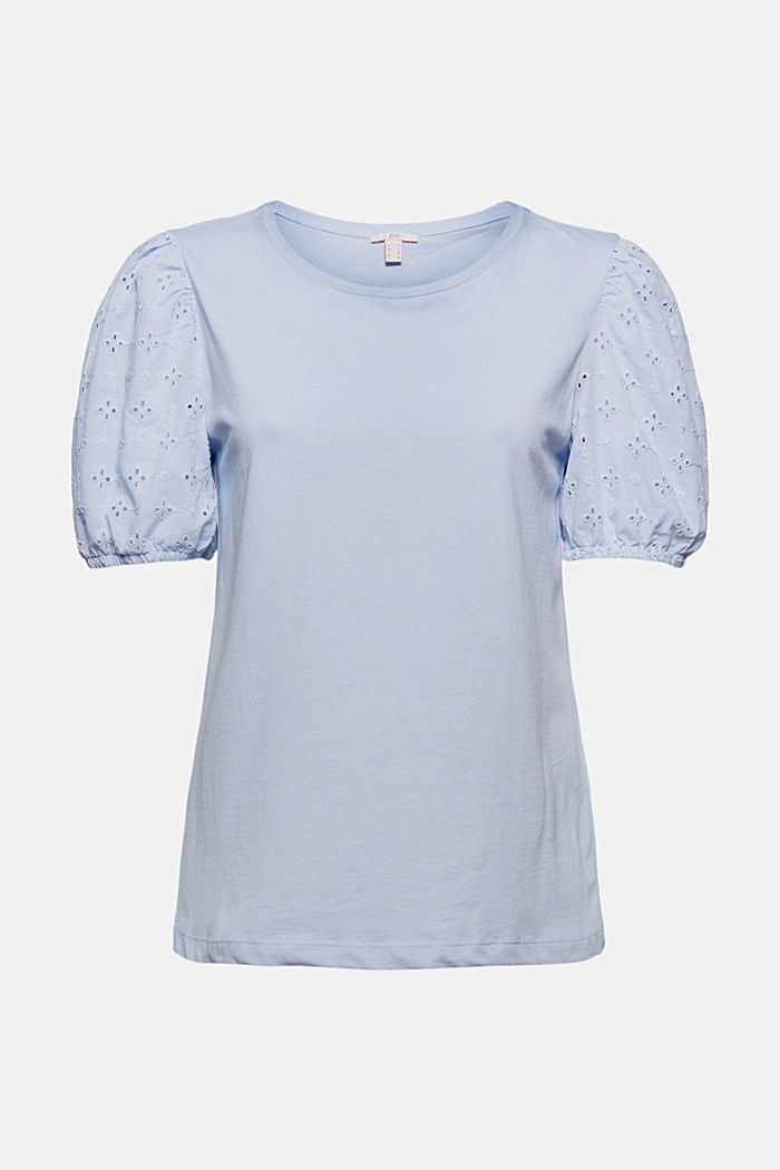T-shirt with cloth sleeves and broderie anglaise, LIGHT BLUE LAVENDER, detail image number 5