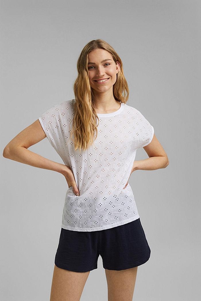 T-shirt en mélange de matières, orné de broderie anglaise, WHITE, detail image number 0