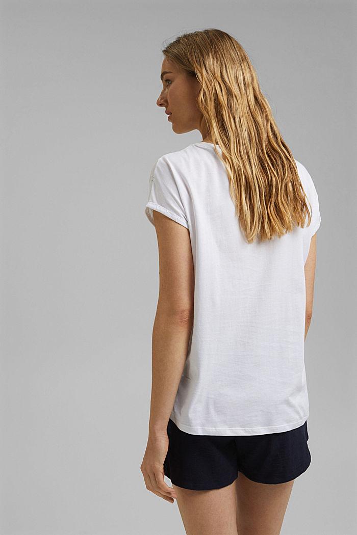 T-shirt en mélange de matières, orné de broderie anglaise, WHITE, detail image number 3