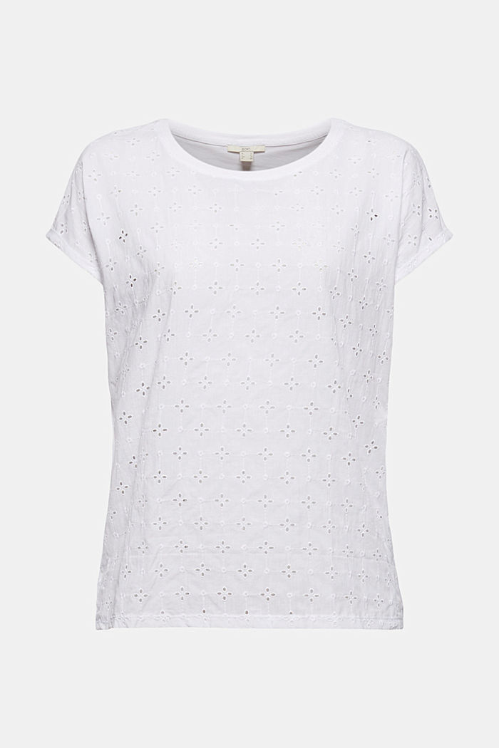 T-shirt en mélange de matières, orné de broderie anglaise, WHITE, detail image number 5