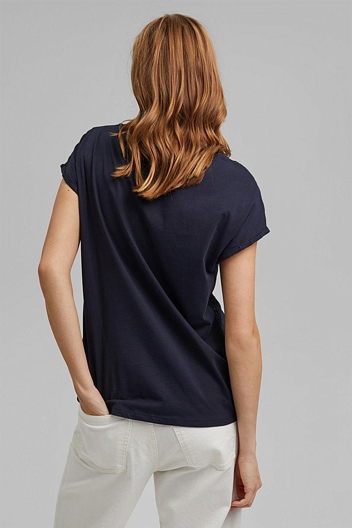 T-Shirt im Material-Mix mit Lochstickerei, NAVY, detail image number 3