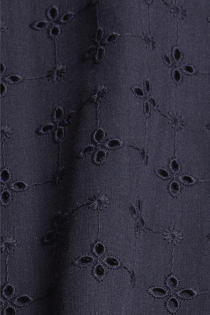T-Shirt im Material-Mix mit Lochstickerei, NAVY, detail image number 4