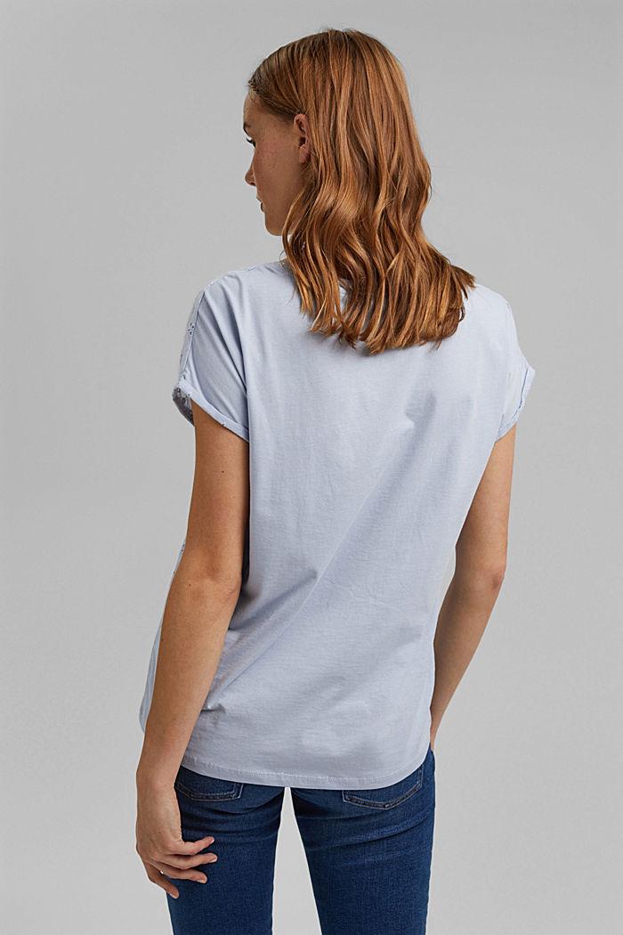 T-Shirt im Material-Mix mit Lochstickerei, LIGHT BLUE LAVENDER, detail image number 3